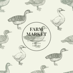 Seamless farm vector pattern. Graphical duck and goose silhouette, hand drawn vintage illustration. Retro farm birds background.