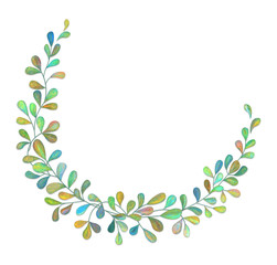 Illustrated wreath with leaves on white background