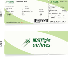 Green vector airline passenger and baggage boarding pass ticket with barcode. Concept of travel or journey or business trip