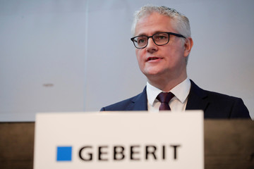 CEO Buhl of Swiss sanitary products company Geberit addresses a news conference to present the company's annual results, in Zurich