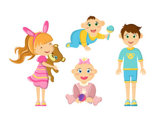 Young and newborn children, cute smile, hold their favorite toys.