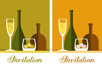 Invitation for the cocktail party, colour, vector. A glass of champagne and a glass of whiskey on a colored background. Vector, flat picture.