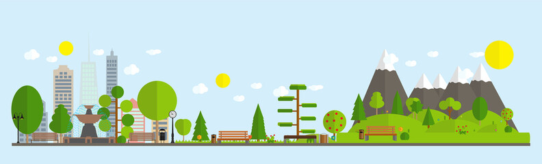 Flat cartoon style illustration of urban landscape street skyline city office buildings and Parks with trees. Vector Illustration