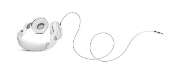 White headphones and Convention Aux cable 3.5 mm