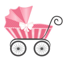 Vintage baby pram carriage vector- Pink