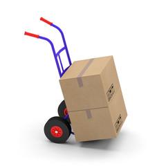 chariot diable trolley transporter déménagement boite carton