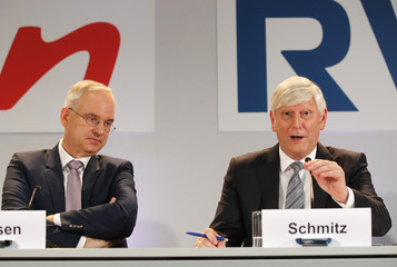 RWE AG CEOs Teyssen and Schmitz attend the joint news conference in Essen