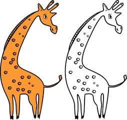 Cartoon giraffe of orange color on white background and coloring page
