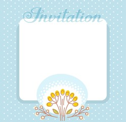 Invitation, flower and berries, blue, vector. Color, flat card. Twigs with yellow berries on a blue background. Vector picture. The invitation to the event. The inscription in English.