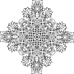 An illustration of a black and white mandala. Cosmic flower of life. The idea for a tattoo