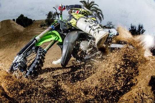 Closeup pilot motocross very close.