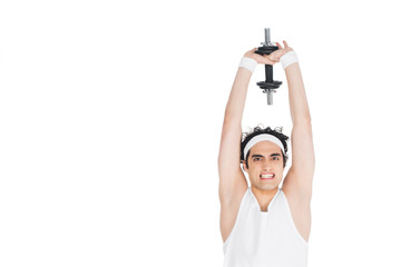 Wall Mural - Young skinny man holding dumbbell over own head