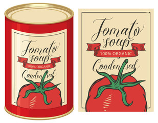 Vector illustration of label for condensed tomato soup with handwritten inscriptions and tin can with this label