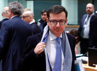 Spain's Economy Minister Roman Escolano attends the European Union finance ministers meeting in Brussels