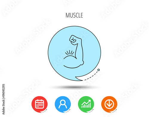 biceps muscle icon bodybuilder strong arm sign stock image and