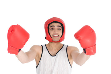 Wall Mural - Young skinny sportsman in boxing helmet and gloves isolated on white