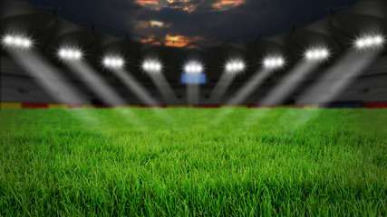 Leeres Stadion, Arena, Rasen bei Nacht mit Scheinwerfern, 3D Rendering
