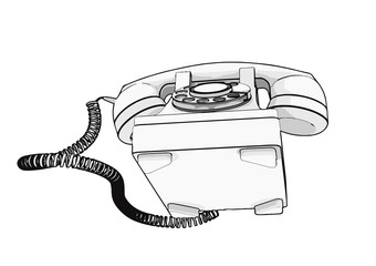 sketch of old phone vector