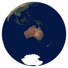 Earth from space. Satellite image of planet Earth. Photo of globe. Isolated physical map of Australia and Oceania (Australia, New Zealand, Pacific Islands). Elements of this image furnished by NASA.