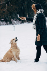 Picture of woman playing with dog in winter park