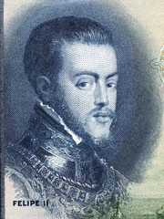 Philip II of Spain portrait from Spanish money