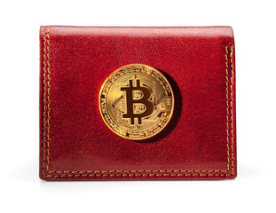 Leather wallet with golden bitcoin coin.