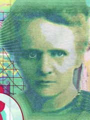 Marie Curie portrait from French money