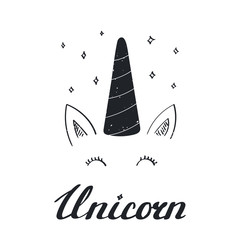 Printed kitchen splashbacks Illustrations Hand drawn vector portrait of a cute funny unicorn with lettering. Isolated objects on white background. Monochrome vector illustration in vintage style. Design concept for children.
