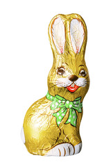 chocolate easter bunny isolated on white