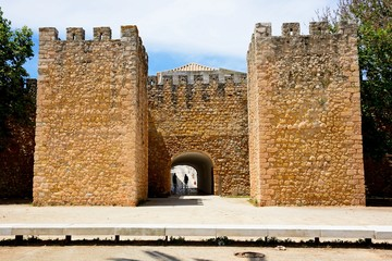 View of the entrance arch of the Governors Castle (Castelo dos Governadores), Lagos, Algarve, Portugal.