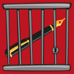 liberté - liberté d'expression - cage - concept - journaliste - information - prison - liberté de la presse