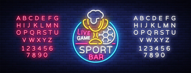 Bar bar logo in neon style. Football fan club, neon sign, light banner, beer label and soccer ball, or cup for live team championships or game tournaments. Vector illustration. Editing text neon sign