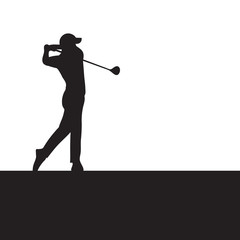Silhouette golfer swinging driver wood for golf tournament ticket and flyer background