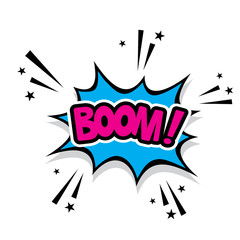 Comic graphic design for explosion blast BOOM