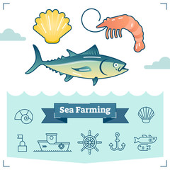 Sea Farming vector illustration collection with marine life elements and outline icon set. Aquaculture industry.