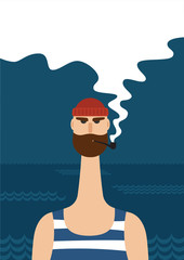 Hipster sailor with thick beard and pipe