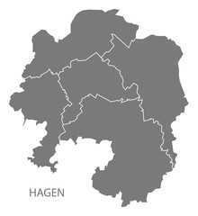 Hagen city map with boroughs grey illustration silhouette shape