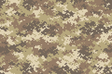 Desert camouflage seamless pattern. Trendy style pixel camo, repeat print. Vector illustration.