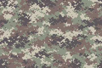 Forest camouflage seamless pattern. Trendy style pixel camo, repeat print. Vector illustration.