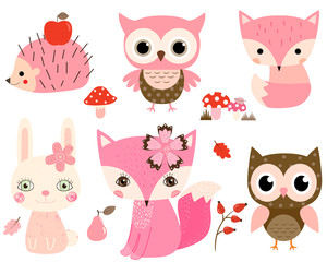 Cute woodland animals in pink and brown colors for children designs and greeting cards