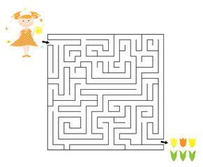 Easy spring / Easter maze game for children with a child , watering can and tulips / vector illustration on white background