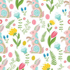 Easter concept seamless pattern. Cute rabbits in flowers. Seamless pattern.
