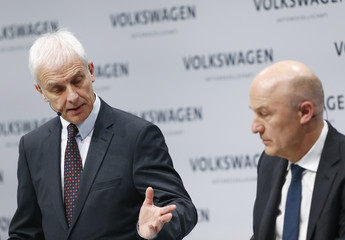 Volkswagen CEO Mueller and CFO Witter attend the annual earnings news conference of VW in Berlin in Berlin