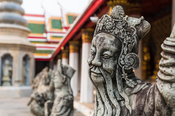 The Chinese stone sculptures decorated in Wat Arun Ratchawararam, Bangkok, Thailand