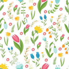 Easter concept seamless pattern. Cute folk flowers. Seamless pattern