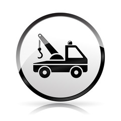 tow truck icon on white background
