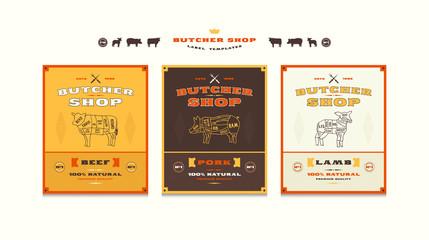 Set of templates label for butcher shop