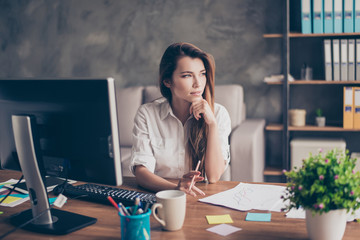 Beautiful pretty concentrated focused minded thoughtful elegant graceful modern fashionable agent designer wearing white classic chic blouse planning analyzing career playing with pencil