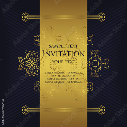 Vintage background with antique luxury gold frame, invitation card
