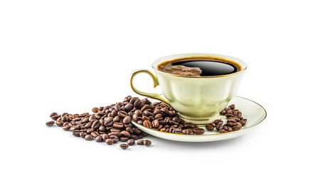 Coffee. Coffee cup and beans isolated on white background